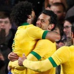 Fred brings a goal for Brazil in the 90th minute of the game
