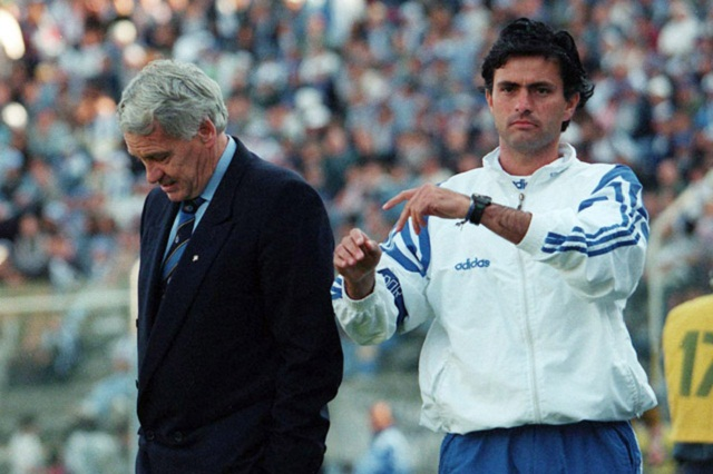 José Mourinho as assistant coach Bobby Robson at Porto in 1996