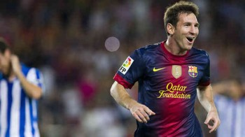Lionel Messi is pumped for the match against AC Milan of the Champions League play off
