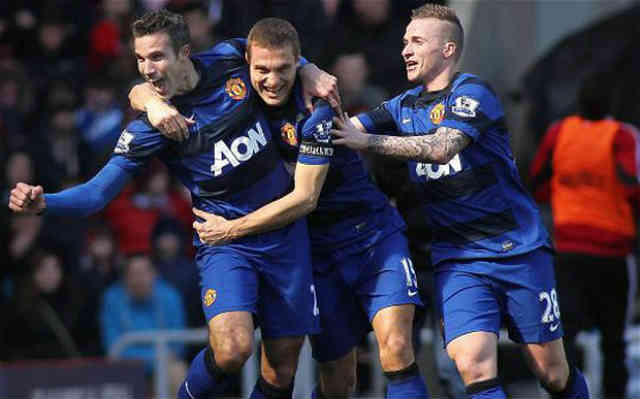Manchester United celebrate the goal which happened to be an own goal
