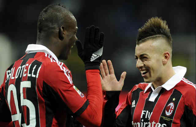 Mario Balotelli fits in AC Milan as he celebrates with his best friend El Shaarawy