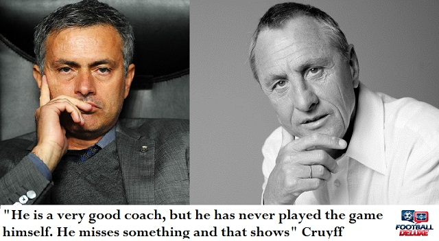 Netherlands football legend Johan Cruyff thinks Jose Mourinho would be a better coach if he had played at the highest level as a footballer himself.
