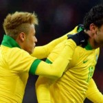 Neymar celebrates with Fred for his opener goal against Italy