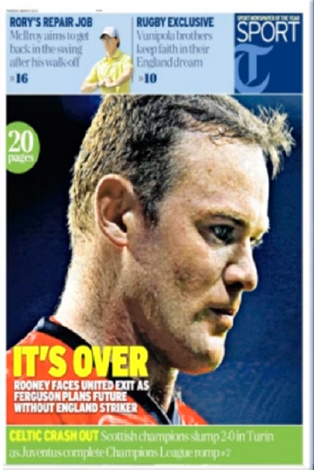 The Telegraph cover on Rooney and Man Utd:  It's over