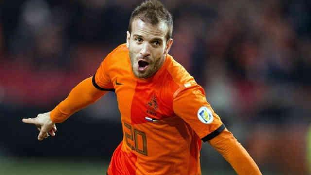 Van der Vaart celebrates his goal for Holland