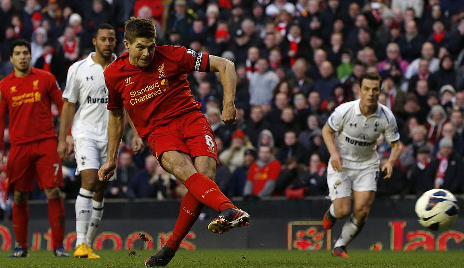 Liverpool's Steven Gerrard scores from the penalty spot to sink Spurs
