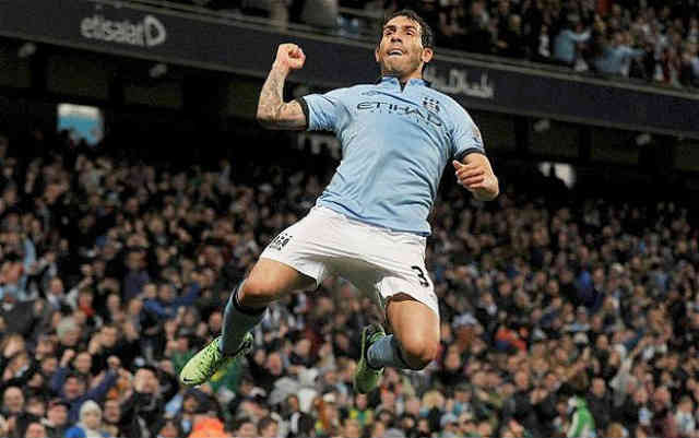Carlos Tevez celebrates his goal