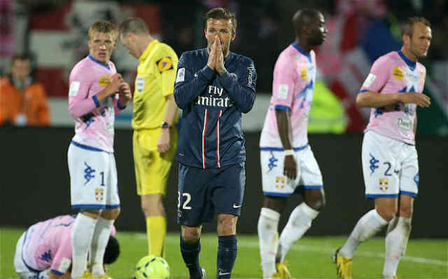 David Beckham shocked with the red card after his foul he made