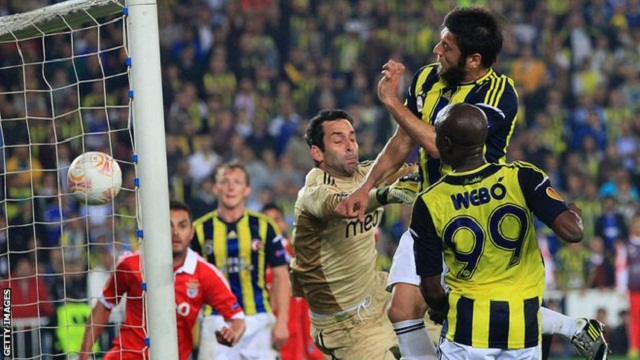 Defender Egemen Korkmaz's second-half header earned Fenerbahce a deserved 1-0 victory in the first leg of their Europa League semi-final