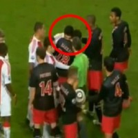 Luis Suarez was banned for biting Otman Bakkal in the neck