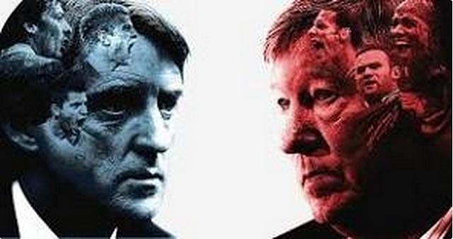 Man City's Roberto Mancini and Man United's Alex Ferguson square off