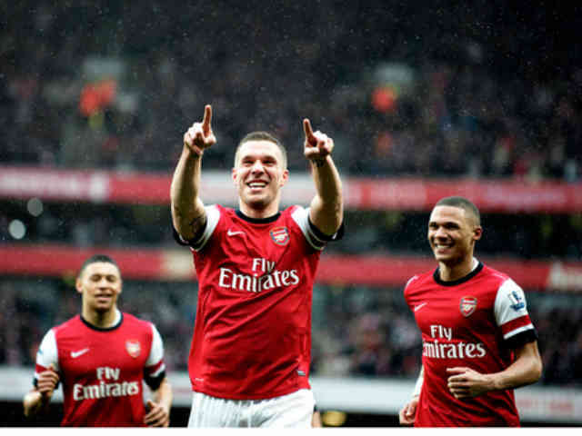 Podolski celebrates his goal which brings the Gunners on a rise