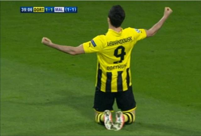 Robert Lewandowski's 39th minute goal, that was Borussia Dortmund's 1-1 equaliser against Malaga