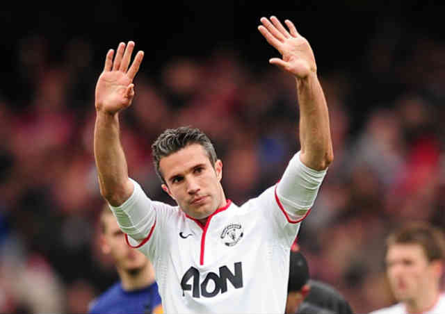 Robin Van Persie does not celebrate his goal as he gives respect for Arsenal