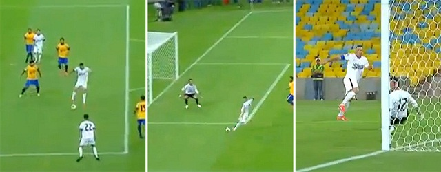 Ronaldo scores a fantastic goal in this charity match hosted by old Brazil team-mate Bebeto.