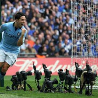 Samir Nasri celebrates the open goal for Manchester City