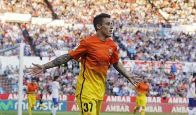 Tello celebrates both his goals with Barca