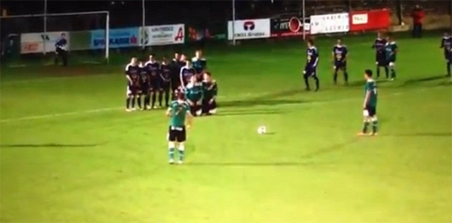 The viral video comes from an Austrian lower league match.After being given a free-kick, it looked like SC Weiz had something clever in mind as they positioned two players to kneel in front of the SC Fürstenfeldbruck wall.