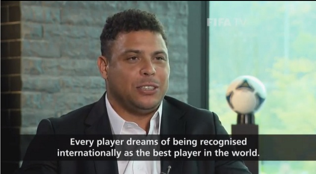 Three-time FIFA World Player of the Year, Brazil great Ronaldo pictured here in an interview he gave to FIFA TV last year on the Ballon d'Or
