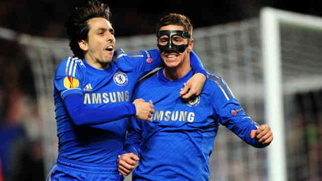 Torres celebrates his two goals at the Europa League