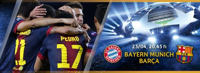 Watch Bayern Munich vs Barcelona live stream. Watch this game live and online for free. UEFA Champions League, semi-finals 1st leg April 23, 2013.