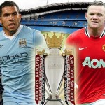 Manchester City's Carlos Tevez and Manchester United's Wayne Rooney  square off
