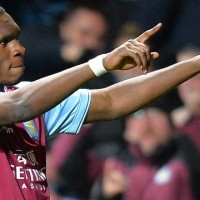 Aston Villa's Christian Benteke celebrates his hatrick