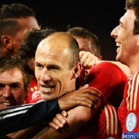 Bayern Munich players celebrate in their semi final win against Barcelona