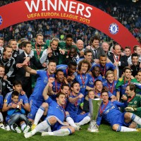 Chelsea celebrate their Europa League Final win secured by a 93rd minute goal by Branislav Ivanovic against Benfica