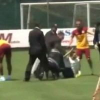 Over-enthusiastic Turkish fan injures Didier Drogba during Galatasaray public training session