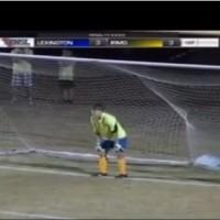Goalie celebrates saved penalty, ball spins in (Irmo v Lexington, USA)