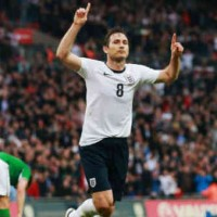 Lampard celebrates his goal which brought England a draw