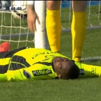 Lokeren goalkeeper Boubacar Copa Barry was knocked unconscious after colliding with the post in an attempt to save Carlos Bacca's shot.
