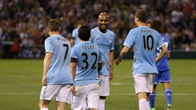 Manchester City celebrate their win in the States