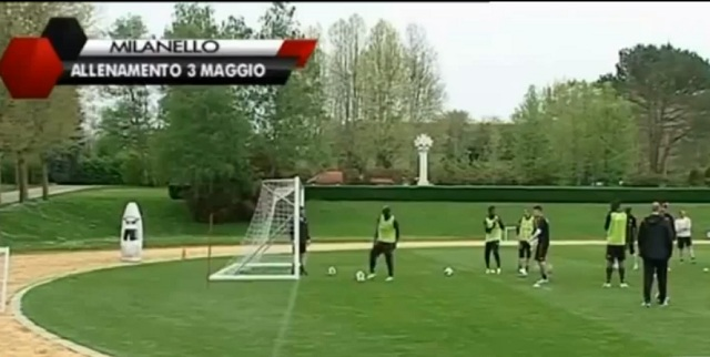 Mario Balotelli targets an old man driving a golf cart at AC Milan training 2013 HD