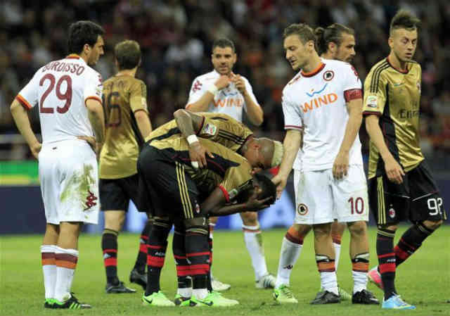Muntari shocked with receiving a red card by trying to stop the referee