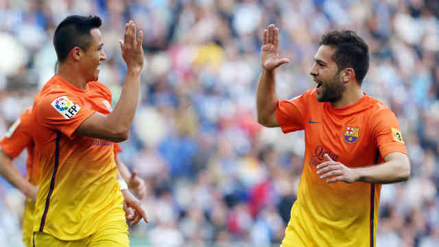 Rodriguez and Sanchez celebrate their goals together