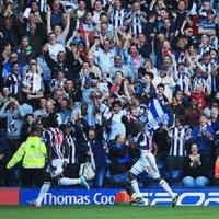 Romelu Lukaku runs to celebrate with West Brom fans after completing his hat-trick in Albion's thrilling 5-5 draw with Manchester United.