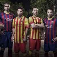 The Barcelona jerseys for the 2013-2014 season.