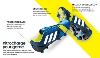 The Nitrocharge is filled with technologies that will revolutionize the football and of course the way you play.(Energysling, Micoach Speed_cell, protection pads)