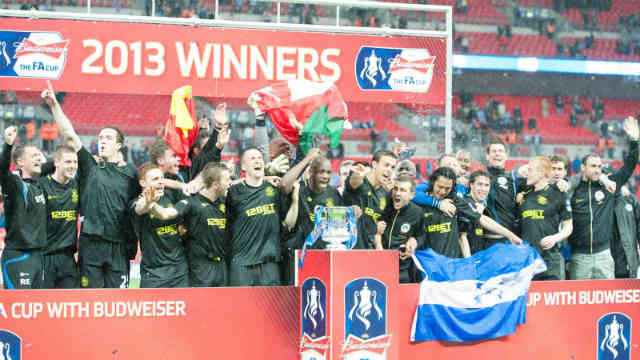 Wigan celebrate their victory and winning the FA Cup