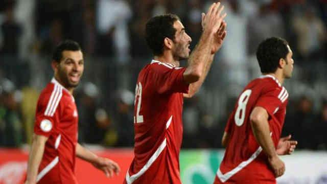 Aboutrika celebrates his goal with Egypt