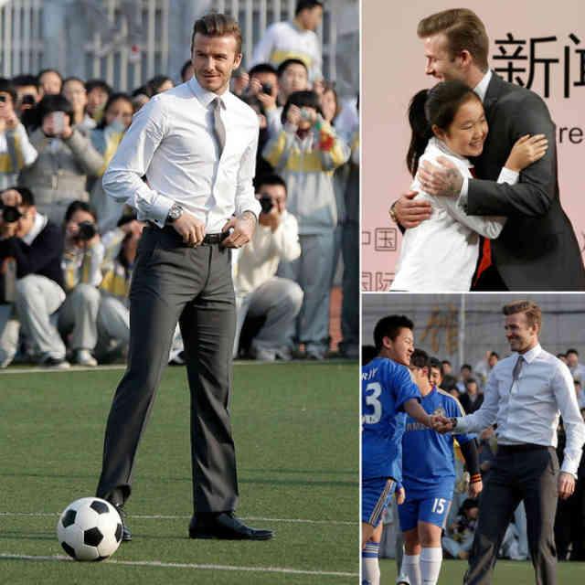 David Beckham playing football and greeting people in China