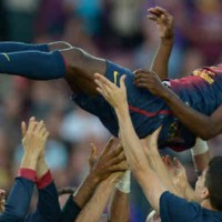 FC Barcelona celebrate Eric Abidal last game with them