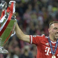 Franck Ribery celebrates the Champions League title
