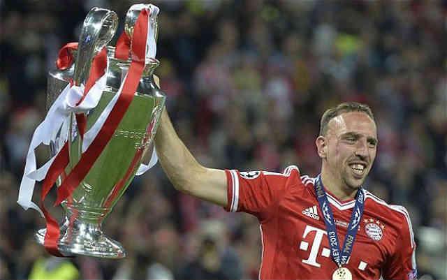 Franck Ribery celebrates the Champions League title