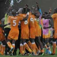 Ivory Coast celebrate their match victory