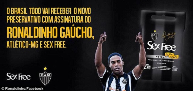 New endorsement for a condom brand-This image appeared on Ronaldinho's official Facebook page