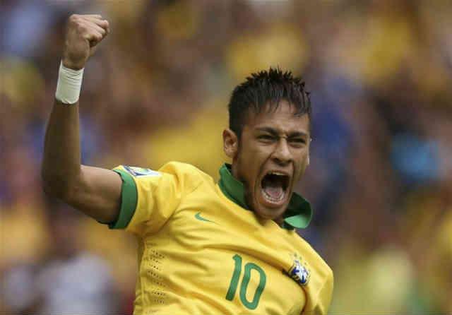 Neymar celebrates his amazing goal against Japan
