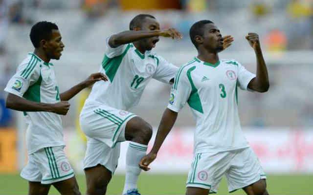 Nigerian players celebrate their goals